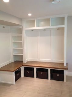 Our new white mudroom lockers for the downstairs entrance!