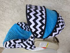 Black and White Chevron with Azure Infant Car Seat Cover. $65.00, via Etsy.