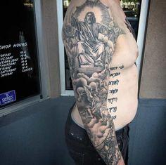 Mary and Jesus. (Photo:Joseph Jacober) This parting of the Red Sea. (Photo:Trevor Jameus) This breathtaking back piece. (Photo: unknown) This open wound. (Photo: Klunder) This thigh piece. (Photo:Matt Laster) This heavenly sleeve. (Photo:Matt Laster) This amazing neo traditional work. (Photo:Matt Laster) This skull tat. (Photo: Alex Asad) This creative crucifixion tattoo. (Photo:Mi Familia Tattoo Studio) Psalm 91:11 (Photo: Amy Nicholls)