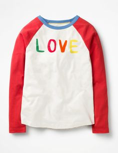 Made from supersoft jersey, these loved-up long-sleeved T-shirts are adorable. Choose between a LOVE slogan in velvety flocking or embroidered birds in a heart on a stripy background. Curved hems and raglan sleeves add a playful, sporty twist. Love Slogan, Embroidered Bird, Types Of Girls, Going Out Outfits, Summer Kids, Summer Wardrobe, Sweatshirts, Sleeves, Sweaters