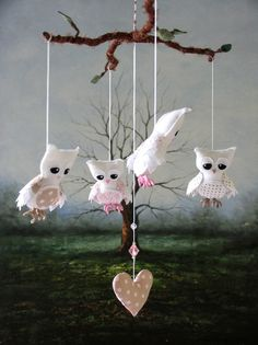 Nursery Mobile  Feathery Owl  Pink and Fawn by lilliputloft, $104.00