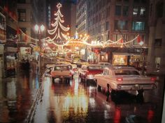 Downtown Kansas City during Christmas. Circa 1950s.