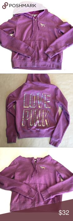 """PINK Victoria secret light purple zip up hoodie Pink Victoria Secret zip yo hoodie. Light purple with """"Love Pink"""" in silver on the back. Signs of normal wear like light pilling. PINK Tops Sweatshirts & Hoodies"""