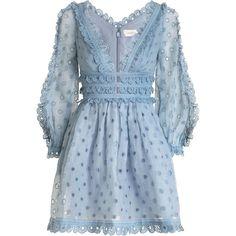 ZIMMERMANN Winsome Tea Dress (20,280 MXN) ❤ liked on Polyvore featuring dresses, vestido, short dresses, embroidery dresses, blue eyelet dress, blue mini dress and sleeved dresses