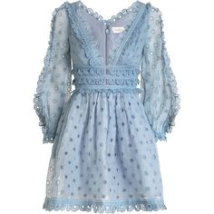 ZIMMERMANN Winsome Tea Dress (20,625 MXN) ❤ liked on Polyvore featuring dresses, tea party dresses, deep v neck dress, tea dress, zipper dress and blouson dress