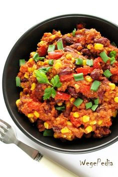 Wegańskie chili con carne fit / chili sin carne – prosty iszybki przepis Vegan Dinners, Paella, Bon Appetit, Recipies, Curry, Rice, Gluten Free, Lunch, Cooking