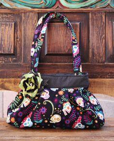 Dia De Los Muertos PurseSugar Skull Handbag Rockabilly by LilaJo