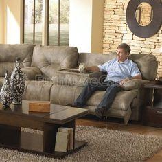 Voyager Lay Flat Triple Reclining Sofa W/ Power Catnapper ...