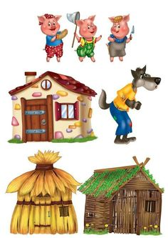 The three little pigs, their houses and the Big Bad Wolf
