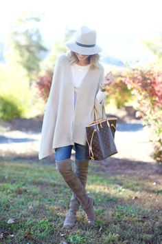 Halogen cape, AG jeans, Stuart Weitzman boots, Janessa Leone hat,  Louis Vuitton bag, gold accessories