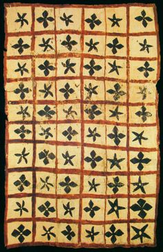 alfiusdebux:  Samoan Islands. Tapa subdivided into sixty square containing floral motifs with four or five petals. Beaten bark. 100 x 170 cm. via CHAUDRON