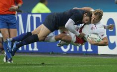 Rugby player getting laid out in a tackle #Rugby
