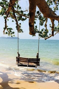 Serenity - swinging on the beach . The Places Youll Go, Places To See, I Love The Beach, Peaceful Places, Belle Photo, Dream Vacations, Beautiful Beaches, Seaside, The Good Place