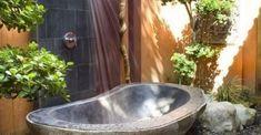 47 Awesome outdoor bathrooms leaving you feeling refreshed Outdoor Tub, Outdoor Bedroom, Outdoor Bathrooms, Outdoor Areas, Hot Tub Backyard, Small Backyard Pools, Tropical Bathroom Decor, Backyard Movie Theaters, Natural Stone Bathroom