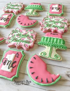 One in a melon cookies for a birthday. Cut Out Cookies, How To Make Cookies, Cake Cookies, Cupcake Cakes, Cupcakes, Watermelon Cookies, Watermelon Birthday, Birthday Cookies, Cake Birthday