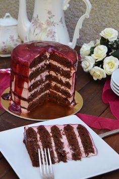 Naked Cake, Tiramisu, Waffles, Breakfast, Ethnic Recipes, Desserts, Raspberry Frosting, Raspberry Filling, Black Forest Cake