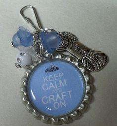 Bottle Cap Zipper Pull Blue Beaded With Yarn Charm, via Etsy.