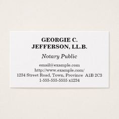 #plain - #Understated Notary Public Business Card