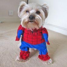 2015 new pet dog cat spiderman costume suit puppy dog  Vestiti superhero outfit abbigliamento abbigliamento per cani piccoli spedizione gratuita 25(China (Mainland))