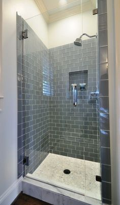 U0027Iceu0027 Glass Subway Tile In Shower. I Like The Dark Hue. Would Like To Maybe  Take It Across To Cover The Entire Wall Where The Sinks Are.