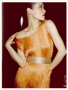 Tina Chow in her Fortuny collection, London, 1977. Photo by Antonio Lopez.