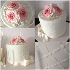 Fondant stencilled with roses & bow cake