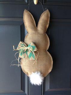 """Easter bunny burlap door hanger - love the simplicity.  No instructions on this one but just look up """"burlap door hanger"""" for tutorial."""