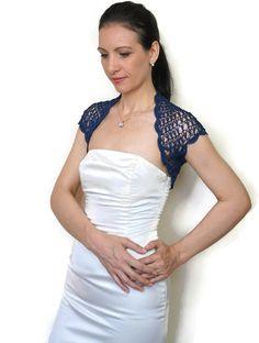 Navy Shrug Lace Wedding Bolero Navy Blue Shrug by HandmadeLaremi