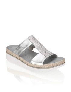 Gabor Glattleder-Pantoffel | grau | humanic.net Ciabatta, Espadrilles, Shoe Bag, Sandals, Bags, Shoes, Fashion, Keep Running, Silver
