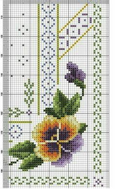 Easy Cross Stitch Patterns, Cross Stitch Borders, Simple Cross Stitch, Cross Stitch Flowers, Blackwork Cross Stitch, Cross Stitch Embroidery, Embroidery Patterns, Knitting Patterns, Cross Stitch Kitchen