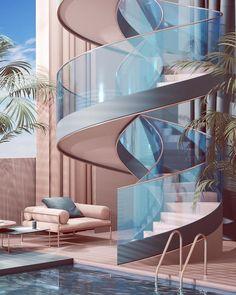 Home Interior Design .Home Interior Design Futuristic Architecture, Interior Architecture, Interior And Exterior, Rendering Architecture, Architecture Diagrams, Stairs Architecture, Architecture Portfolio, Retro Interior Design, Interior Colors