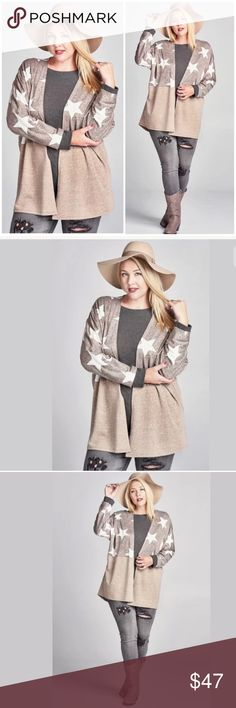 PLUS Star Wrap Long Sleeve Beige Cardigan Featuring an open front, loose fit cardigan jacket with a color block front panel and star details on the top half. Soft comfortable french terry material. Long sleeves.   Please note that as part of the design, the stars on the back will not be aligned at the center seam.  Made of: French Terry   ** Please note these tops are special order and will ship in approx. 5-7 business days - they are on order with the vendor ** Sweaters Cardigans