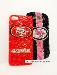 NFL San Francisco 49ers Red Crystal Bling Phone Case for iPhone 4 4s 5 5C Samsung S3 S4 S5 Note 2