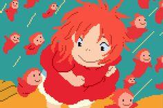 Wonderful 8-Bit Illustrations Of Scenes From Studio Ghibli Movies - DesignTAXI.com