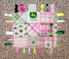 Pink John Deere Minky tag blanket by CashAndCari on Etsy, $15.00