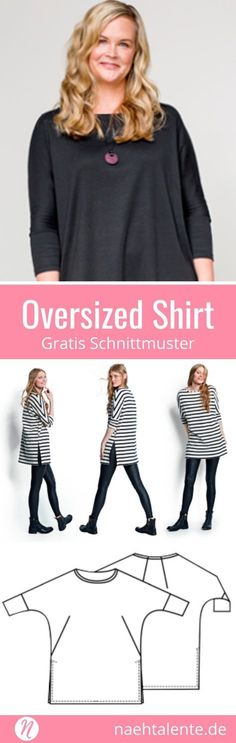 Oversized Shirt für Damen Oversized shirt for women with batwing sleeves and split hem ❤ Free Sewing Pattern ❤ Size approx. XS – XXL ❤ PDF to print ❤ with sewing instructions ✂ Nähtalente.de – Magazine for free sewing patterns & hobby cutters Blusas Oversized, Camisa Oversized, Oversized Shirt, Oversized Tops, Free Sewing, Knitting Patterns Free, Free Pattern, Crochet Patterns, Sewing Clothes