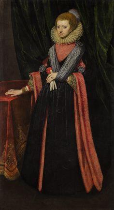 FLEMISH OR BRITISH SCHOOL, CIRCA 1600 | PORTRAIT OF AN ELEGANT WOMAN, FULL LENGTH, IN AN ELABORATE GOWN