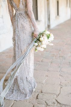 silver vintage gossamer long sleeve wedding dress | Photography:  Katina Patriquin Photography