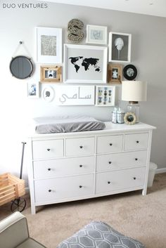 Gorgeous, Gender Neutral Gallery Wall over Changing Table in Nursery - Project Nursery