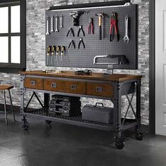 "Whalen 72""  Metal and Wood Workbench"