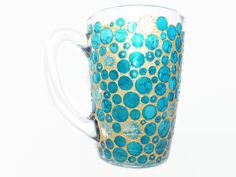 Blue and Gold Bubble Coffee Cup Blue and Gold Bubble от LamPamPam