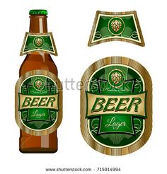 Beer label template with neck label. Vector Illustration.