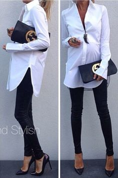 Leather leggings with a white dress shirt, love it!