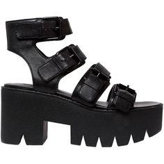 Windsor Smith Women 80mm Presley Buckled Leather Sandals ($165) ❤ liked on Polyvore featuring shoes, sandals, black, high heel platform shoes, buckle sandals, platform shoes, high heeled footwear and platform sandals