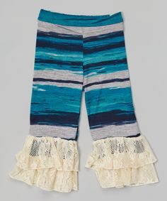 Look at this Navy Brushstroke Lace Ruffle Pants - Toddler & Girls on #zulily today!