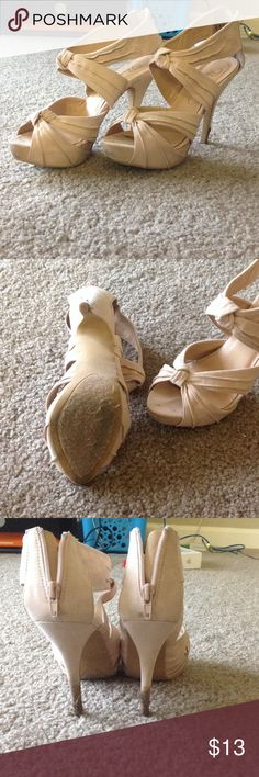 Nude heels Nude heels, zipped back. Recently worn in grass so heels have some dirt I'm too lazy to wipe off. Worn but in good condition Privileged Shoes