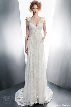 gemy maalouf 2015 bridal cap sleeve lace wedding dress scalloped v neckline pocket style 4140