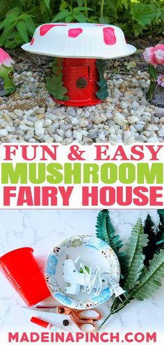 This DIY Mushroom Fairy House is a terrific craft for kids to spark their imagination! It is so super quick and easy to make that you could actually make an entire village in very little time. Your kids will have a blast imagining and creating this DIY Mushroom Fairy House. There is literally no way they can go wrong with it no matter how they choose to make or decorate their mushroom fairy house. | @made_in_a_pinch #easykidscafts #diyfairyhouse #diymushroomfairyhouse #funkidscrafts Easy Crafts For Kids, Easy Diy Crafts, Diy Craft Projects, Creative Crafts, Diy For Kids, Pet Rocks Craft, Easy Pets, Paper Bowls, Homemade Playdough