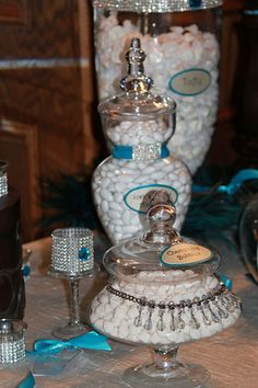 Candy buffet, candles, candy, teal, peacock