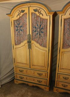 Pair Of Double Door Armoires With Two Lower Drawers, Having Three Interior  Drawers With Three